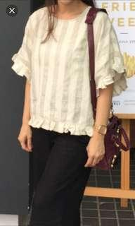REPOST Zara linen ruffle top