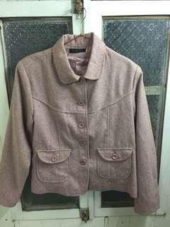 🚚 氣質乾燥粉色外套/可穿至L號/前有口袋