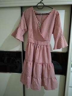 Free pos new checkered dress