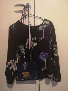 Worn twice floral chiffon blouse