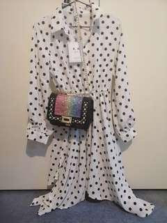 Brand new polka flare dress