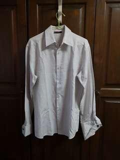Long Sleeve White Checks Dots Shirt