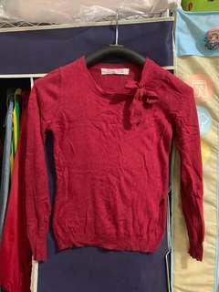 🚚 Af 紅色蝴蝶結毛衣 麋鹿 香港製造