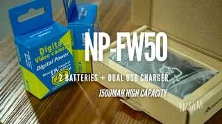 NP-FW50 Battery Dual USB Charger Set for Sony Alpha a6000 a6300 a6500 a7r a7 a7s a7iii NEX 7 etc