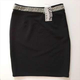 [NEW] Temt Black Pencil Tube Skirt Sequin Detailing