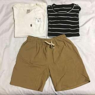 (三件售出)中指貓短袖+原宿橫條紋短袖+素色短褲