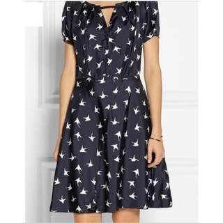 Nina Ricci Navy Bird-print SIlk-twill Knee Length Cocktail Dress 女裝連身裙