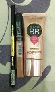 Bb cream Maybelline & concealer Maybelline free eyeliner dan brownbrush