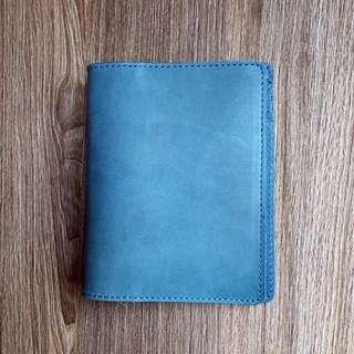 [INSTOCKS] PASSPORT SIZED Real Leather Azure Blue Midori Styled Traveler's PREMIUM Notebook, Planner, Journal, Diary with multiple card slots [Economic Version]