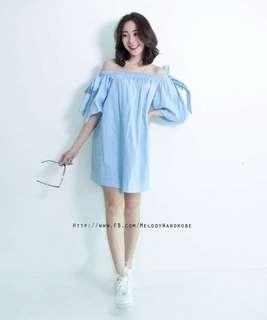 Off Shoulder Dress blue