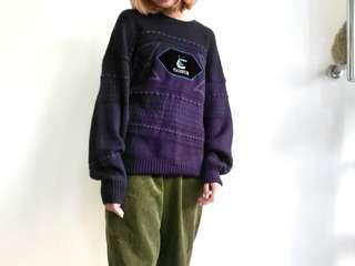 🚚 古著阿北深紫色紋路毛衣 軟料寬鬆 絨布