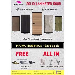 BN solid lamianted bedroom doors for HDB & BTO