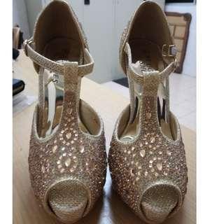 Golden Stone High Heels