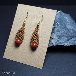 Homemade earrings brown cord with red jasper round beads  // [handmade micro macrame macramé crochet earrings lane22]