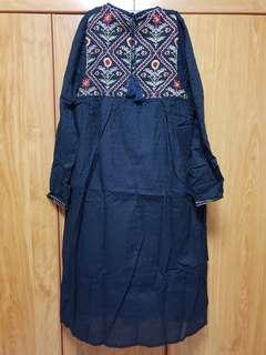 BN Pompom Embroidered Long Sleeve Maxi Dress