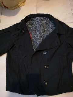 深藍色暗花中袖外套