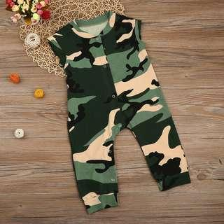 🚚 Army Camouflage Romper Brown Green