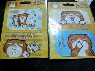 全新白爛貓票卡貼紙 2組4張