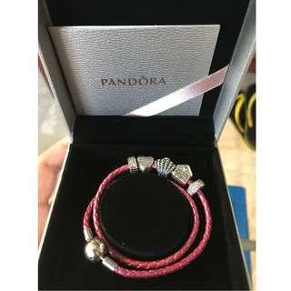 Pandora Woven Leather Bracelet with Charms