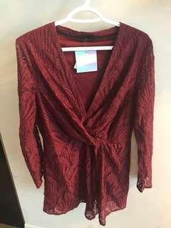 Tags on Missguided burgundy deep v dress, size 6-8