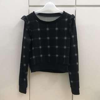 包郵 日系女裝黑色格仔T恤 top