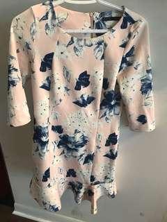 Zara medium floral dress, scuba fabric