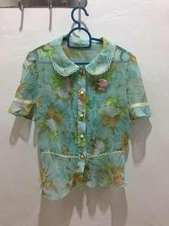 Preloved see through floral top, fit size M