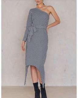 One Sleeve Gingham Dress