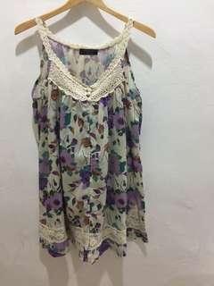 Preloved summer floral dress/top, fit size XL