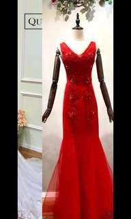 Red wedding gown紅色敬酒裙