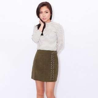 Army Green Shoelace Suede Skirt