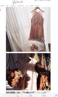 [徵]puree 粉色蕾絲洋裝