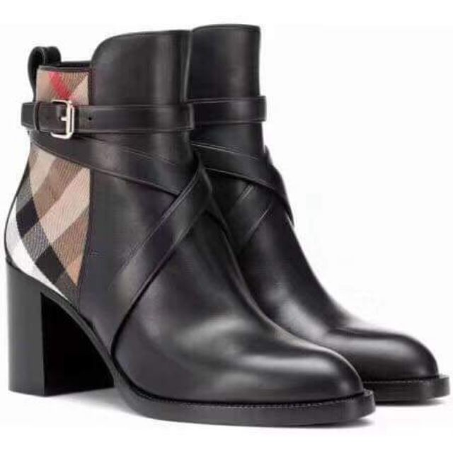 db3c8303638d Authentic Burberry Ankle Boots Leather Check Canvas