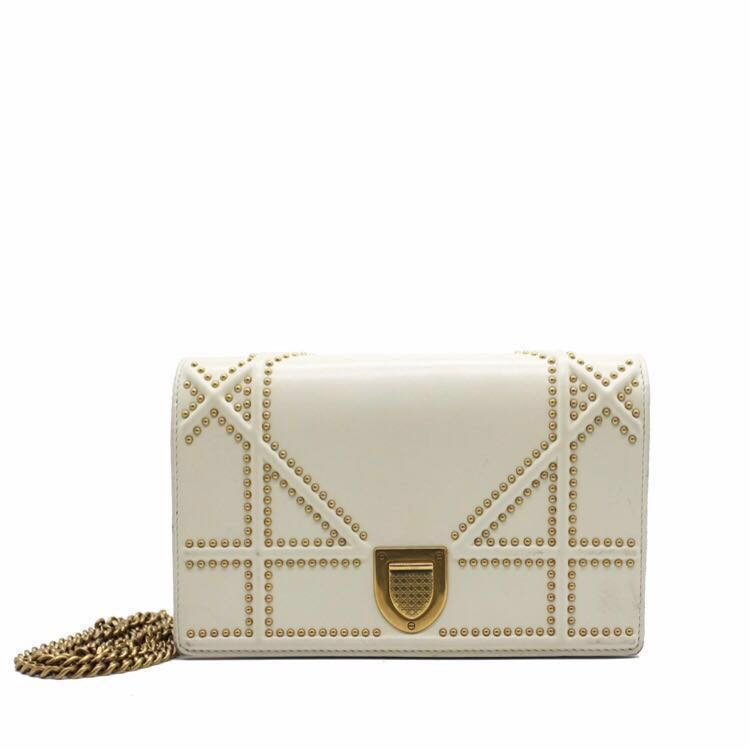 f731fa001ac5 authentic christian dior diorama cream white gold studded slingbag ...