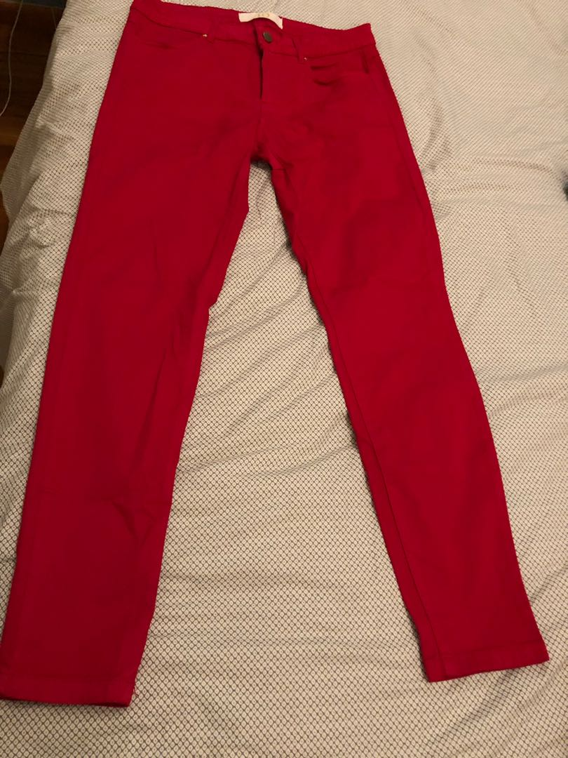 Zara Red High Waist Trousers With Belt Size S Uk 8//10 Genuine Zara