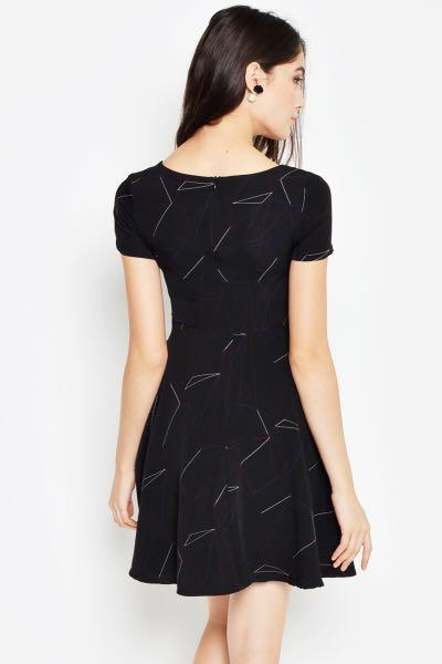 BNWOT Love and Bravery Callie Geometric Skater Dress in Black - Size S