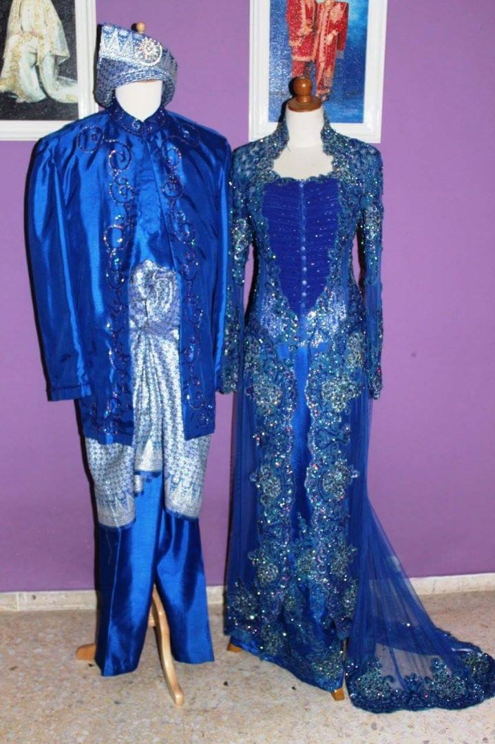Bridal Wear Couple Outfits In Royal Blue Baju Pengantin Mak Andam Women S Fashion Clothes Dresses Skirts On Carousell