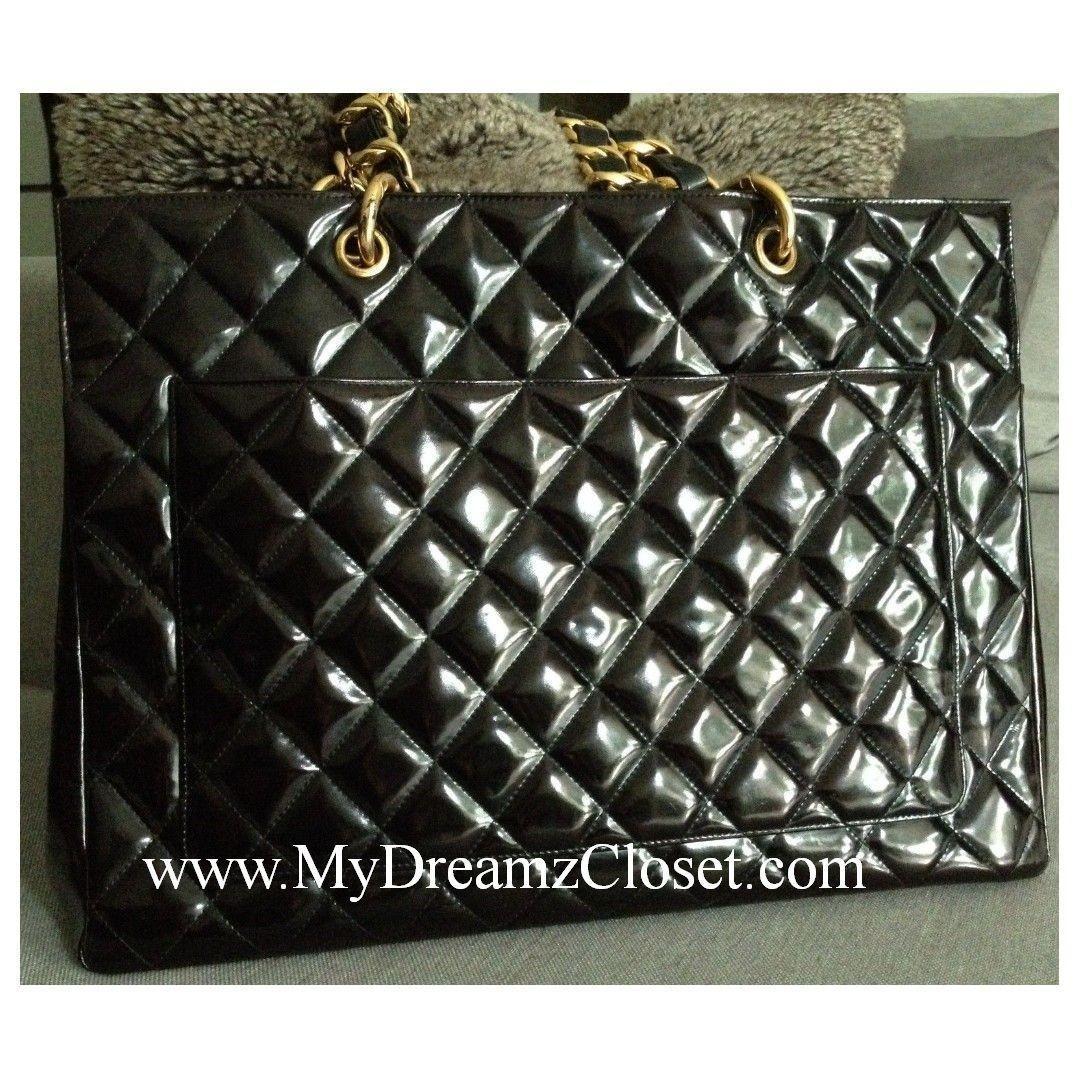 CHANEL Black Patent Leather 24K Gold Chain Grand Shopper Shoulder Tote XL Bag