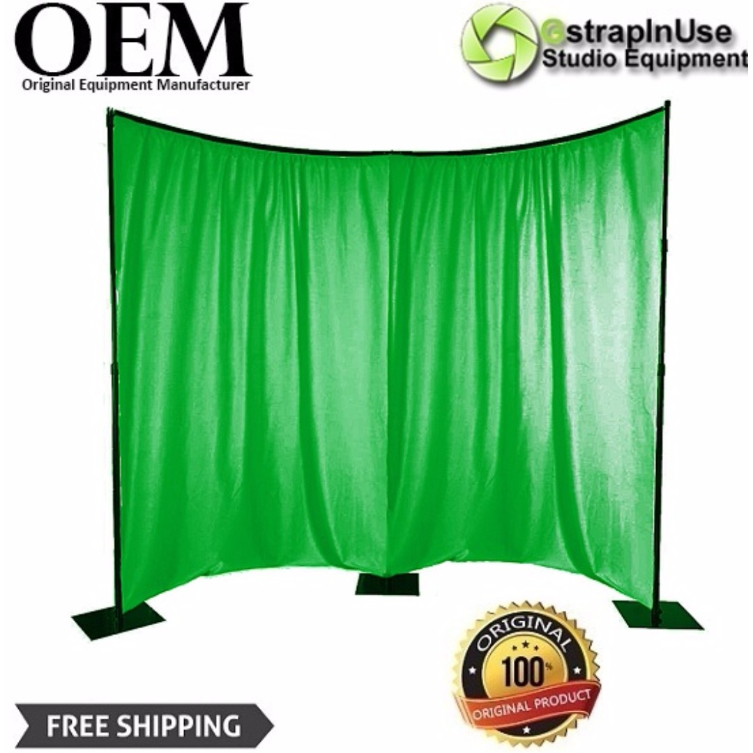 CURVED GREEN SCREEN BACKDROP KIT 3 5X4 2M (CURVED BACKDROP STAND & MUSLIN  GREEN KIT)