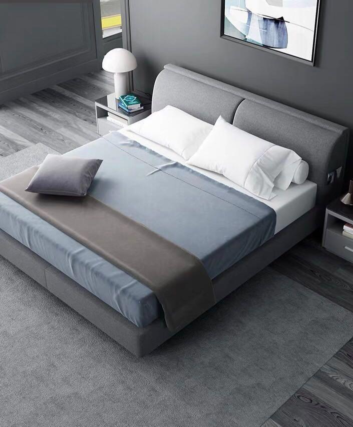 Fabric King Size Storage Bed Grey