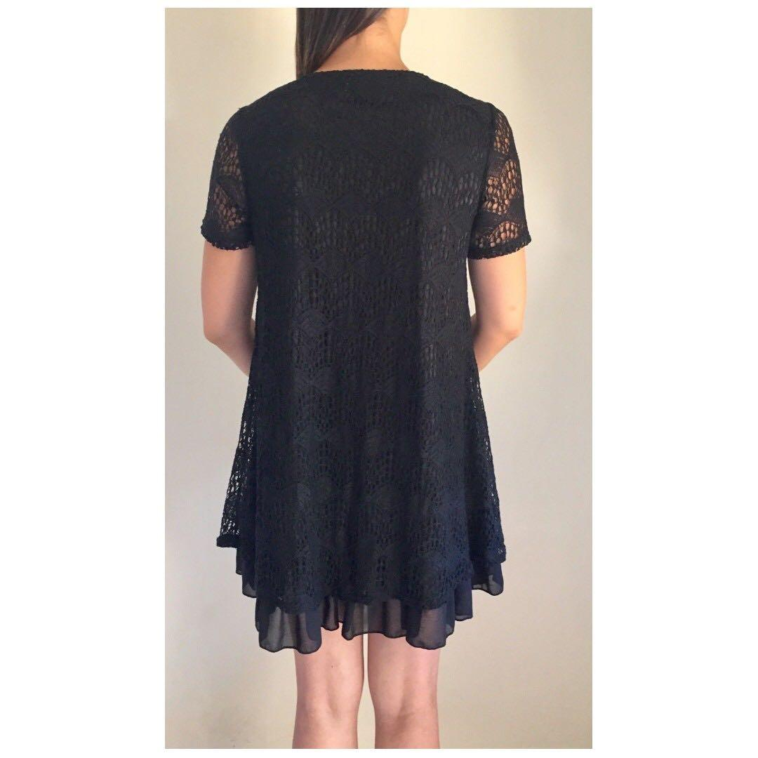 FILO Black Crochet Pearl Embellished Shift Dress Sz 10