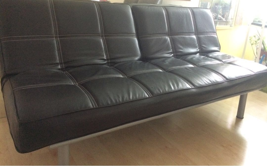 Free Delivery Clearance Sale Black Leather Ss Sofa Bed