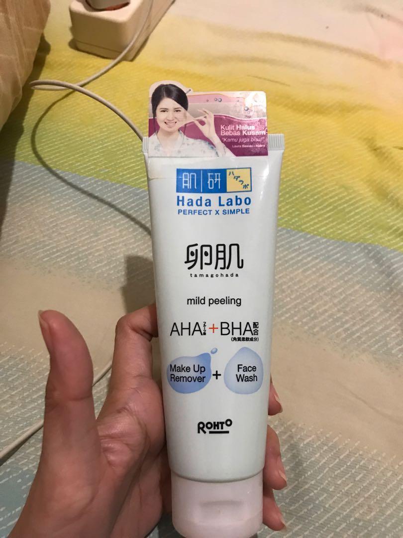 Hada labo facial wash mild peeling Aha Bha Make up remover + face wash NEW &