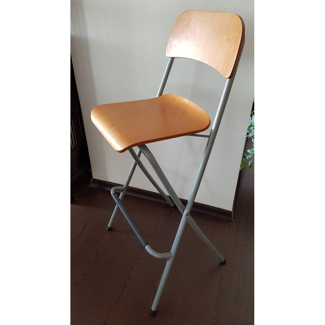 Peachy Ikea Franklin Foldable Bar Stool With Backrest 2 Pieces Theyellowbook Wood Chair Design Ideas Theyellowbookinfo