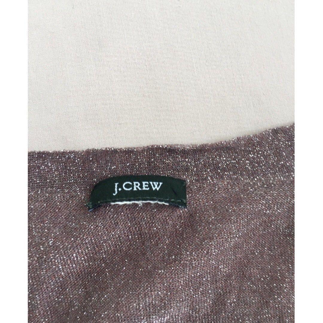 J CREW Mink Glitter Long Sleeve Button Up Fitted Designer Cardigan Sz 10-12