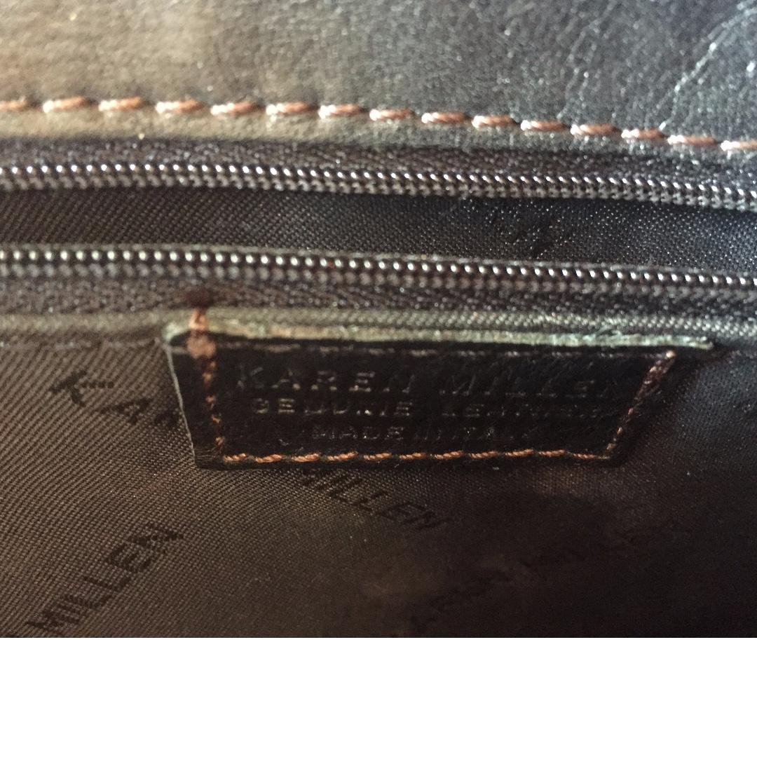 KAREN MILLEN Brown Genuine Authentic Leather Mini Tote Handbag Made In Italy