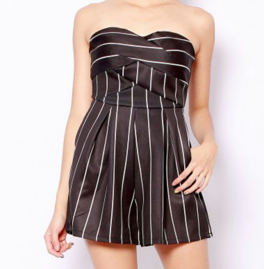 187cdab50 Korean Pretty Classy Black Striped Tube Rompers Playsuit Jumpsuit ...