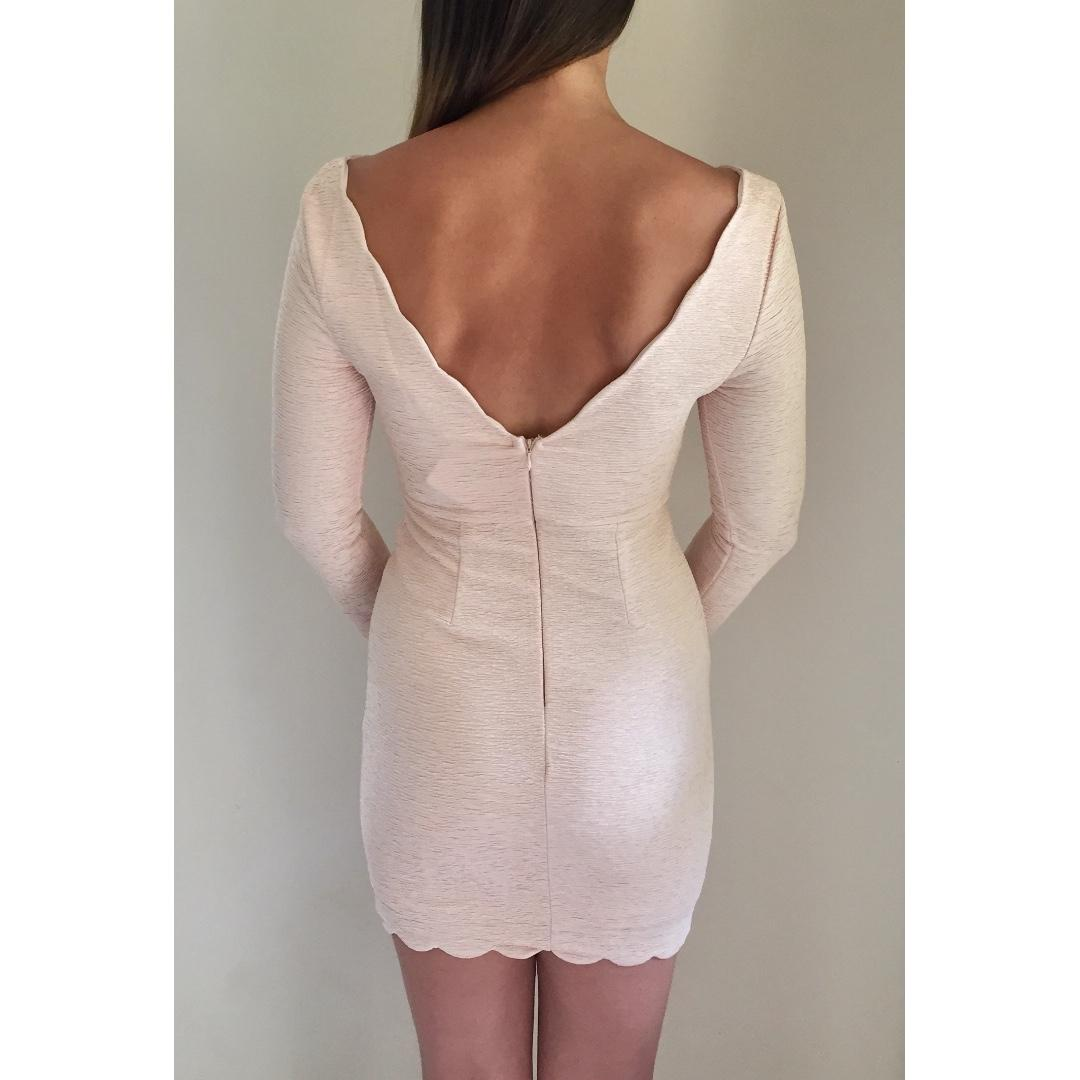NEW 'ANGEL BIBA' Nude Textured Bodycon V-Neck Open Back Long Sleeve Dress sz 8