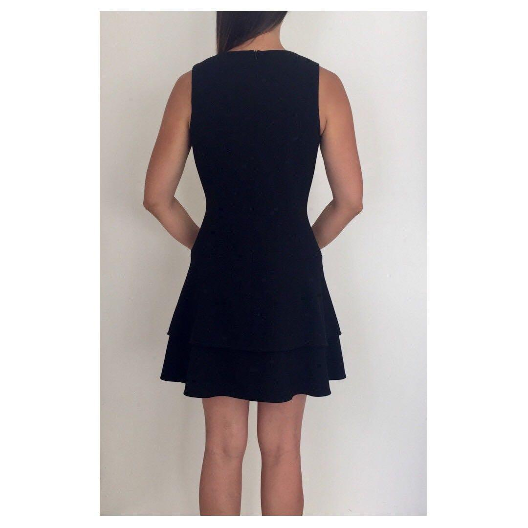 NEW BLACK HALO Black Fit & Flare Tiered Dress Sz 10 RRP $500