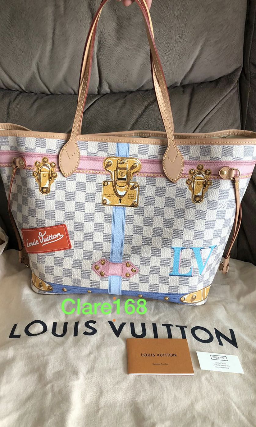 23c6af634eb8 NEW Louis Vuitton Summer Essential Trunk Damier Azur MM Neverfull ...